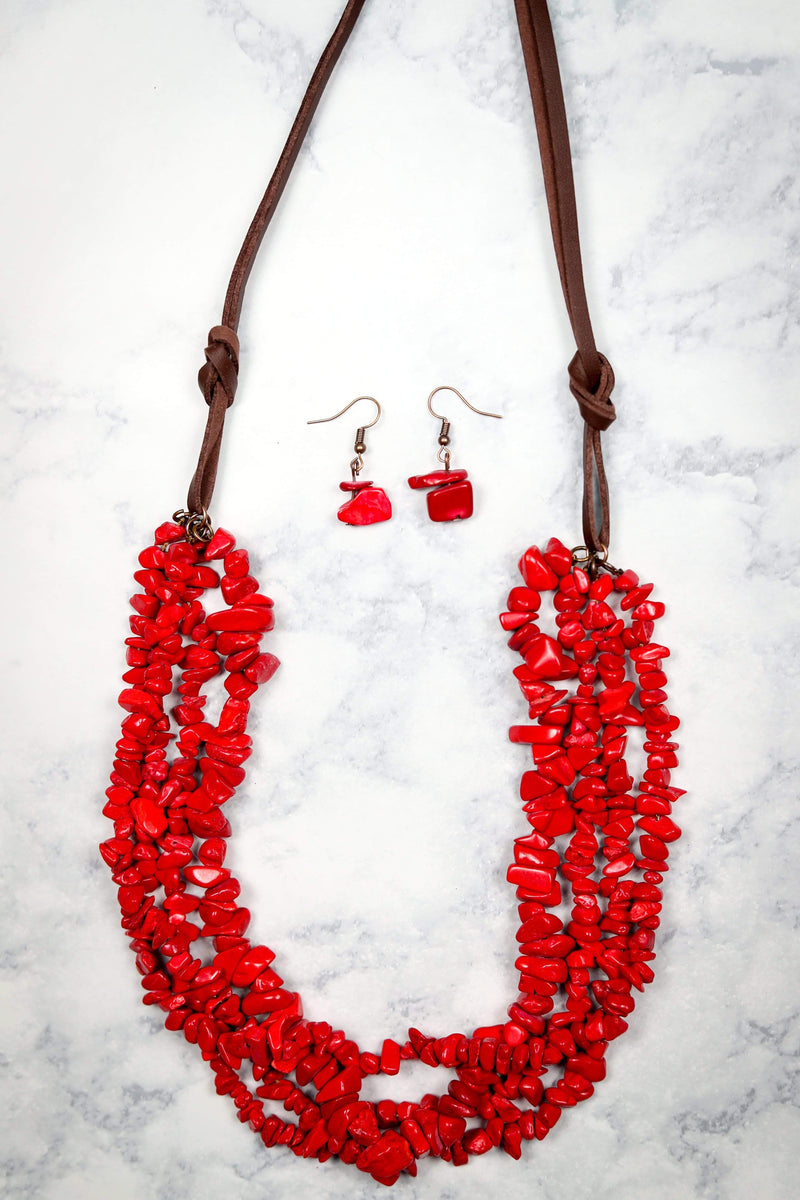Glitzy Girlz Boutique All Dressed Up So Pretty Necklace, Red