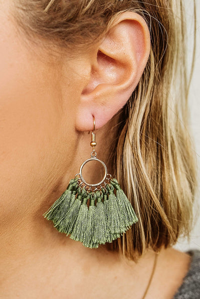 Glitzy Girlz Boutique All The Ladies Earrings, Olive