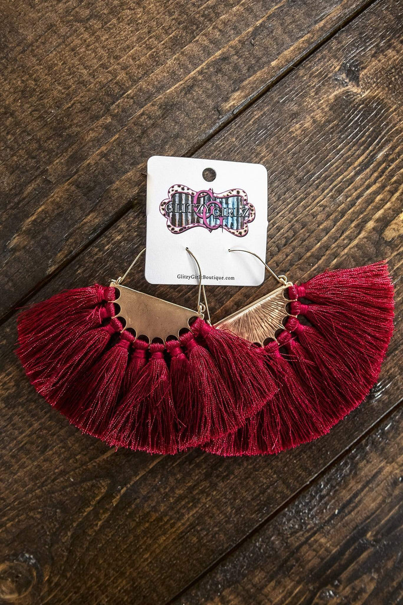 Glitzy Girlz Boutique All To Myself Earrings, Burgundy