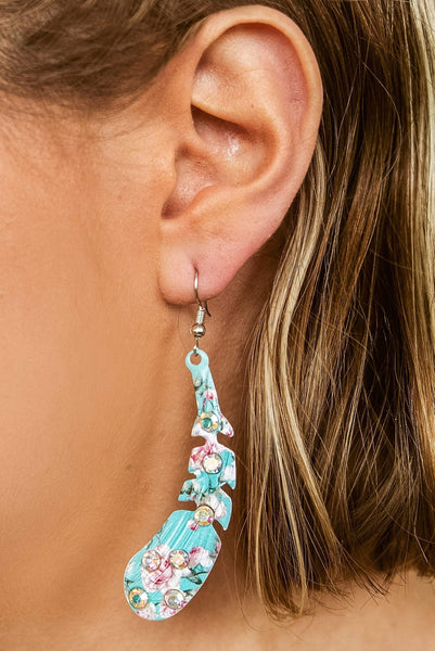 Glitzy Girlz Boutique Alter Ego Feather Earrings, Turquoise