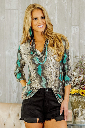 Glitzy Girlz Boutique Always Be My Baby Top, Brown/Mint