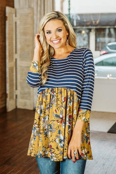 Glitzy Girlz Boutique Another Day Top, Navy/Oatmeal