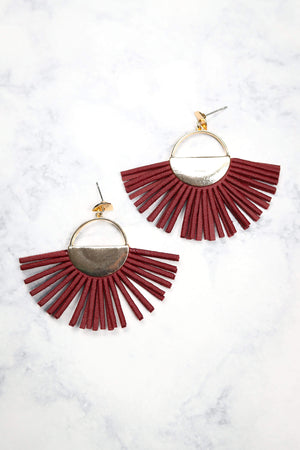 Glitzy Girlz Boutique Apache Command Earrings, Burgundy