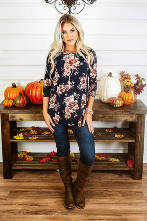 Glitzy Girlz Boutique Attention Getting Top, Navy
