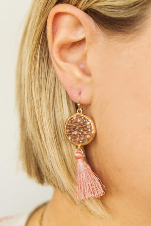 Glitzy Girlz Boutique Audrey Earrings, Blush
