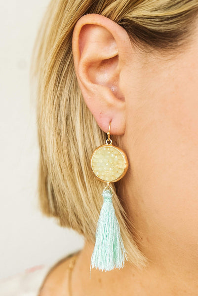 Glitzy Girlz Boutique Audrey Earrings, Mint