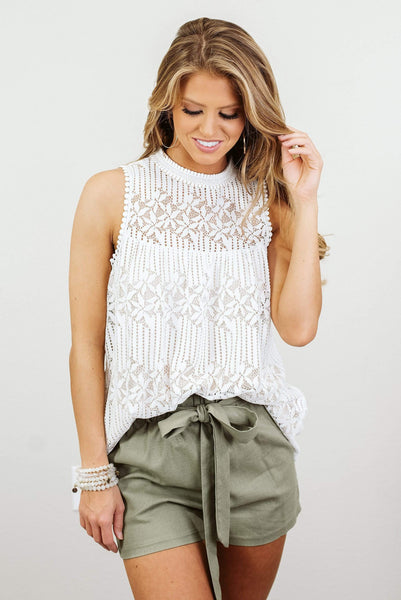 Glitzy Girlz Boutique Blooming in Lace Top, Ivory