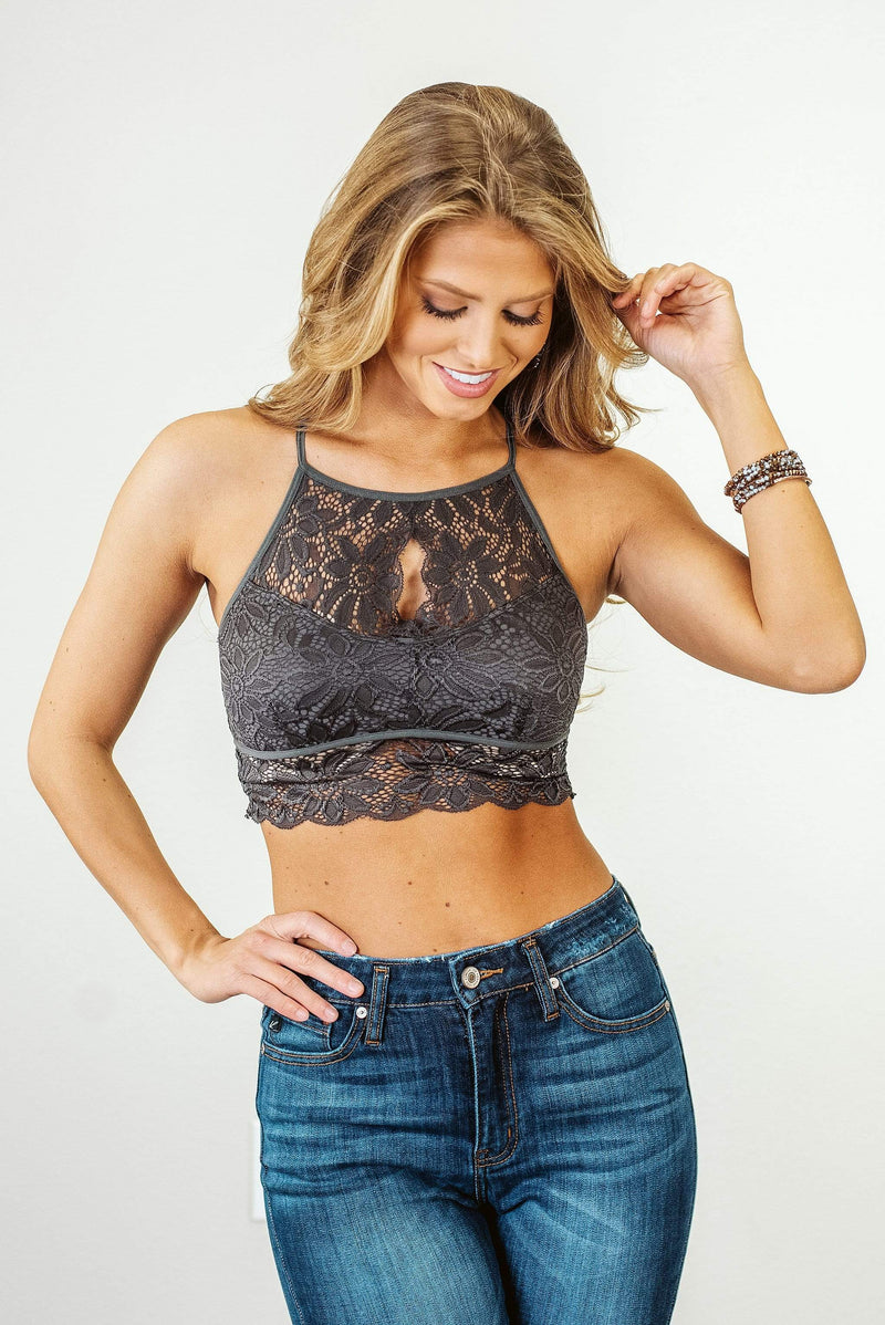 Glitzy Girlz Boutique Bohemian Must Lace Bralette, Mid Grey
