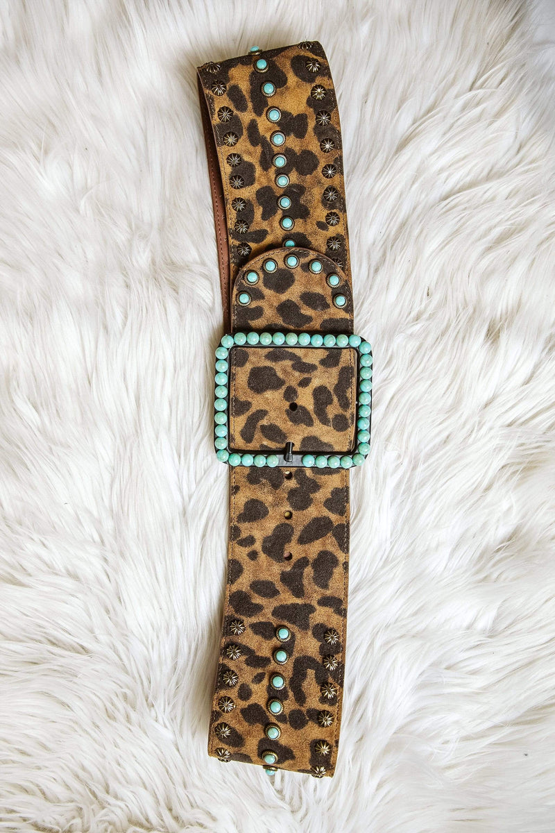 Glitzy Girlz Boutique Bowie Leopard Belt with Turquoise Square Buckle