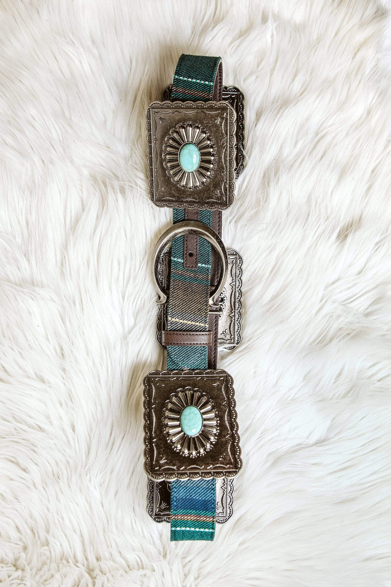 Glitzy Girlz Boutique Brazos Teal Squared Concho Belt, Turquoise Serape