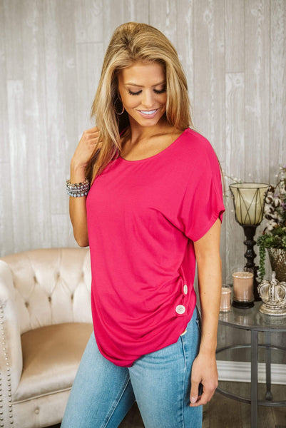 Glitzy Girlz Boutique Button Me Up Top, Hot Pink