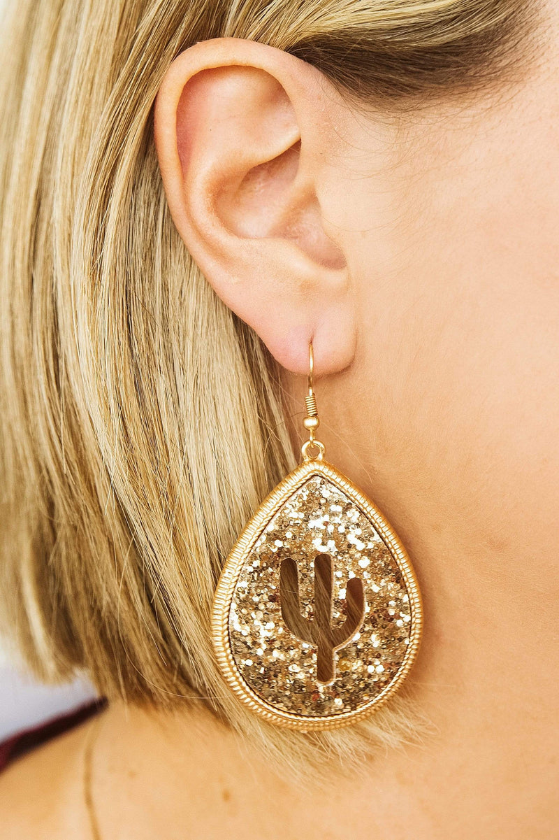 Glitzy Girlz Boutique Cacti Teardrop Earring, Gold Glitter