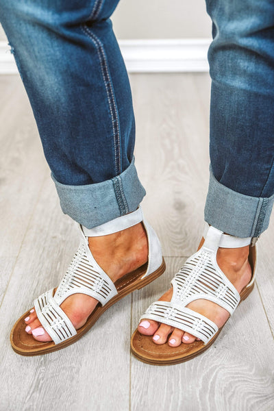 Calista Sandal in Silver | White Casual Tropical Vacation Shoes