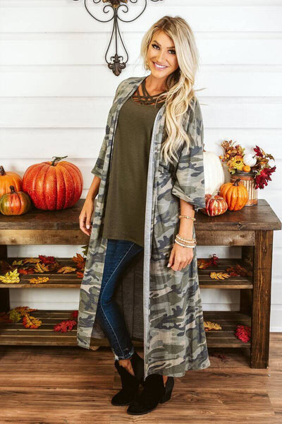 Glitzy Girlz Boutique Camo On Over Duster Cardigan