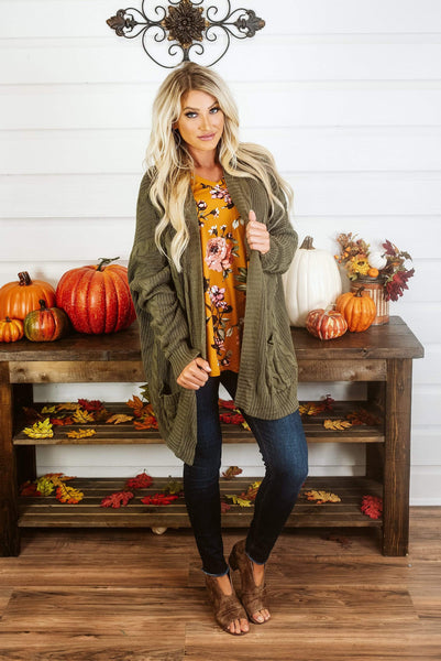 Glitzy Girlz Boutique Catch Me On The Fall Side Cardigan, Olive