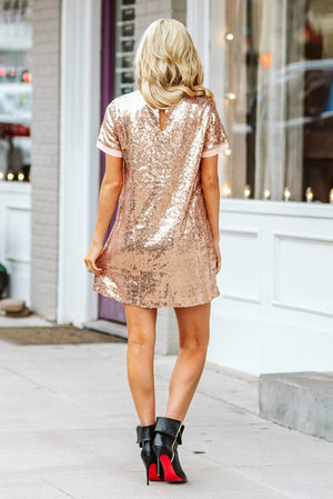 Glitzy Girlz Boutique Center Of Your World Dress, Rose Gold