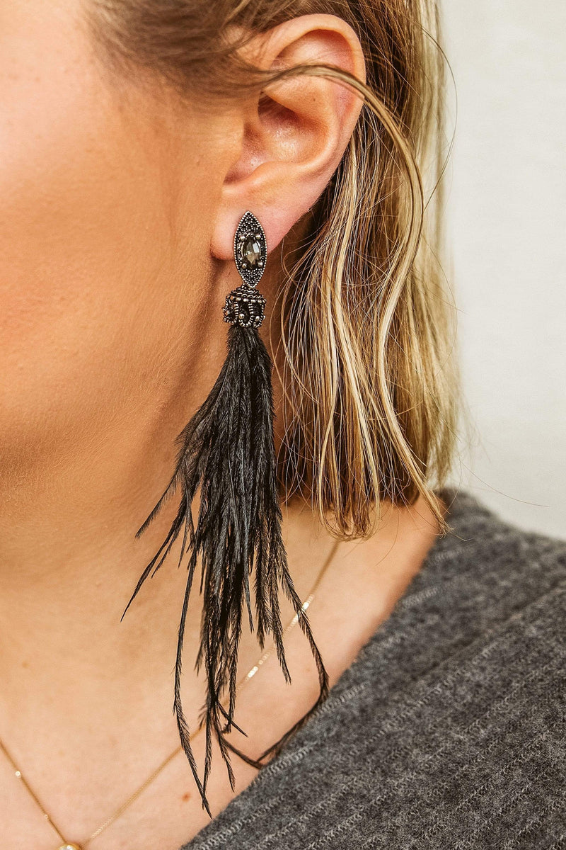 Glitzy Girlz Boutique Cha Cha Feather Earrings, Black