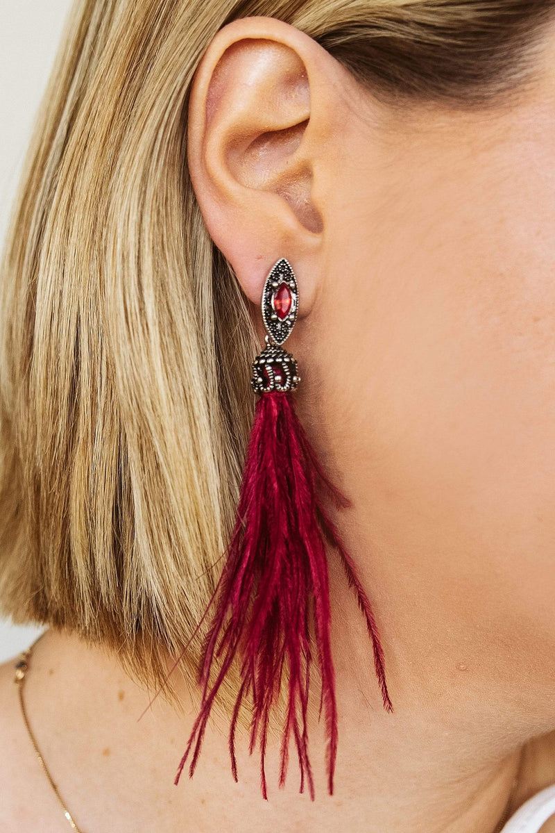 Glitzy Girlz Boutique Cha Cha Feather Earrings, Burgundy