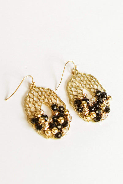 Glitzy Girlz Boutique Charming As Always Earrings, Black