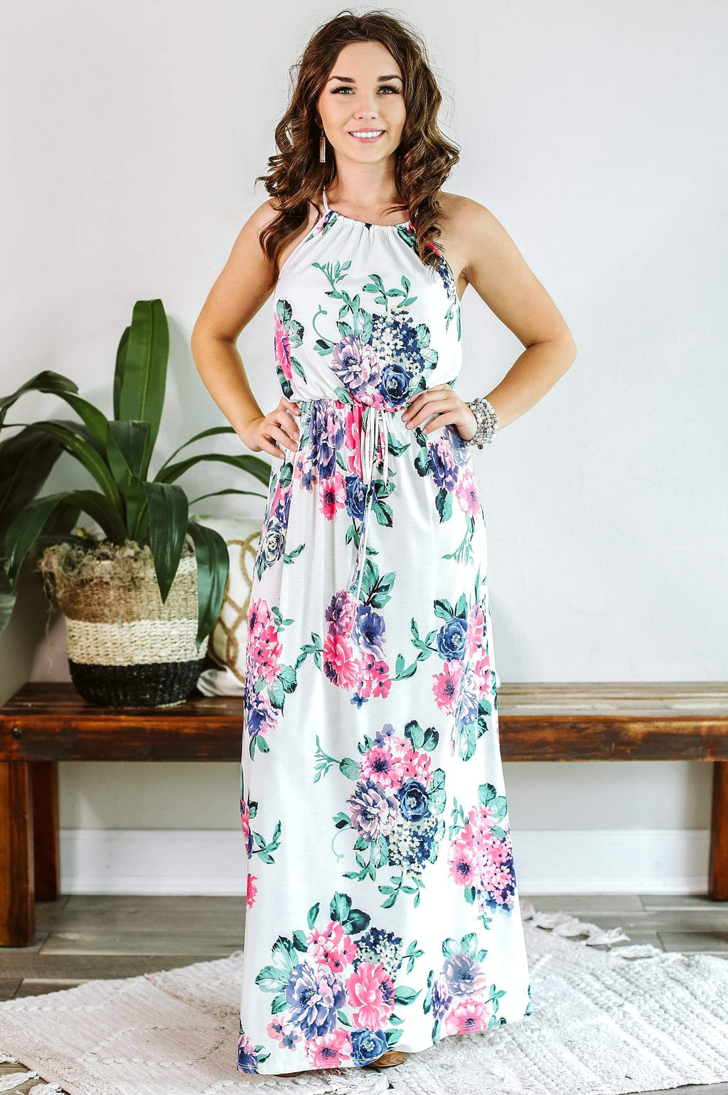 Glitzy Girlz Boutique Charming & Sweet Maxi Dress, Ivory