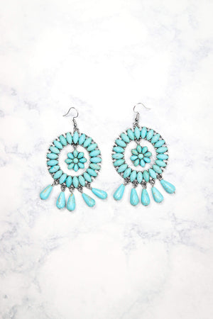Glitzy Girlz Boutique Circle In The Sand Earrings, Turquoise/Silver