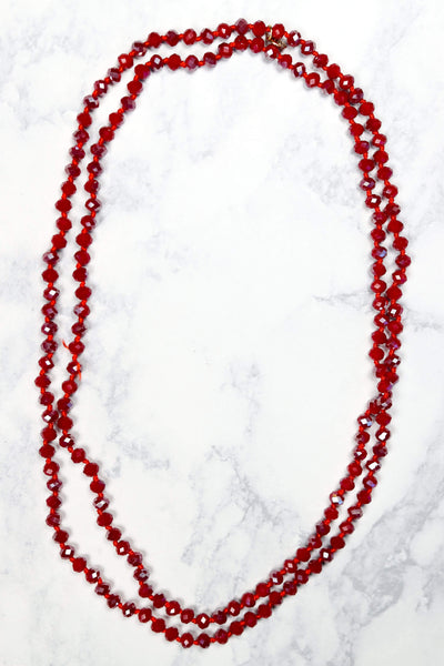 Glitzy Girlz Boutique Classic GG Beaded Necklace, Red Iridescent