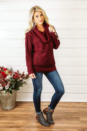 Glitzy Girlz Boutique Cold Hearts Sweater, Burgundy