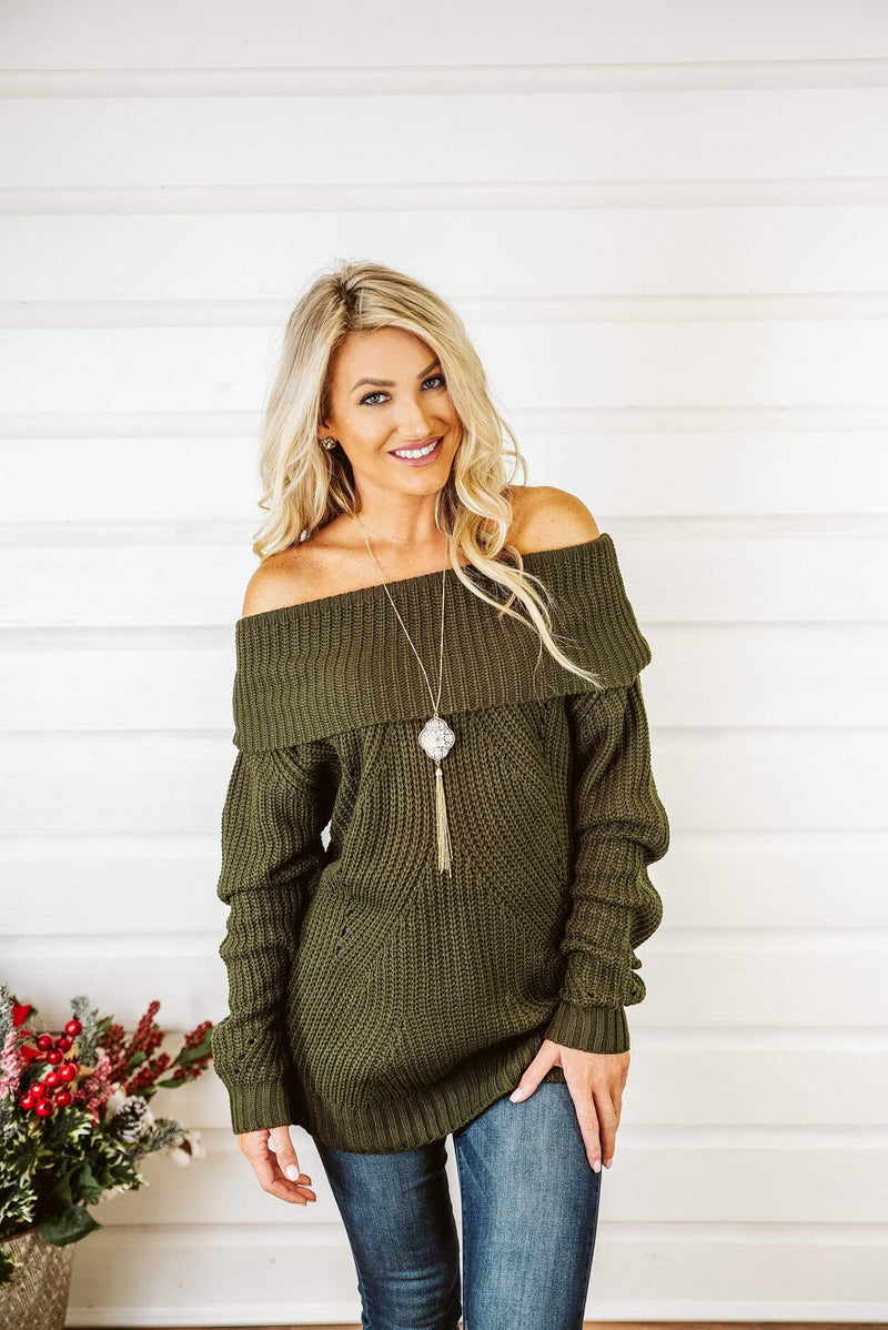 Glitzy Girlz Boutique Cold Hearts Sweater, Olive