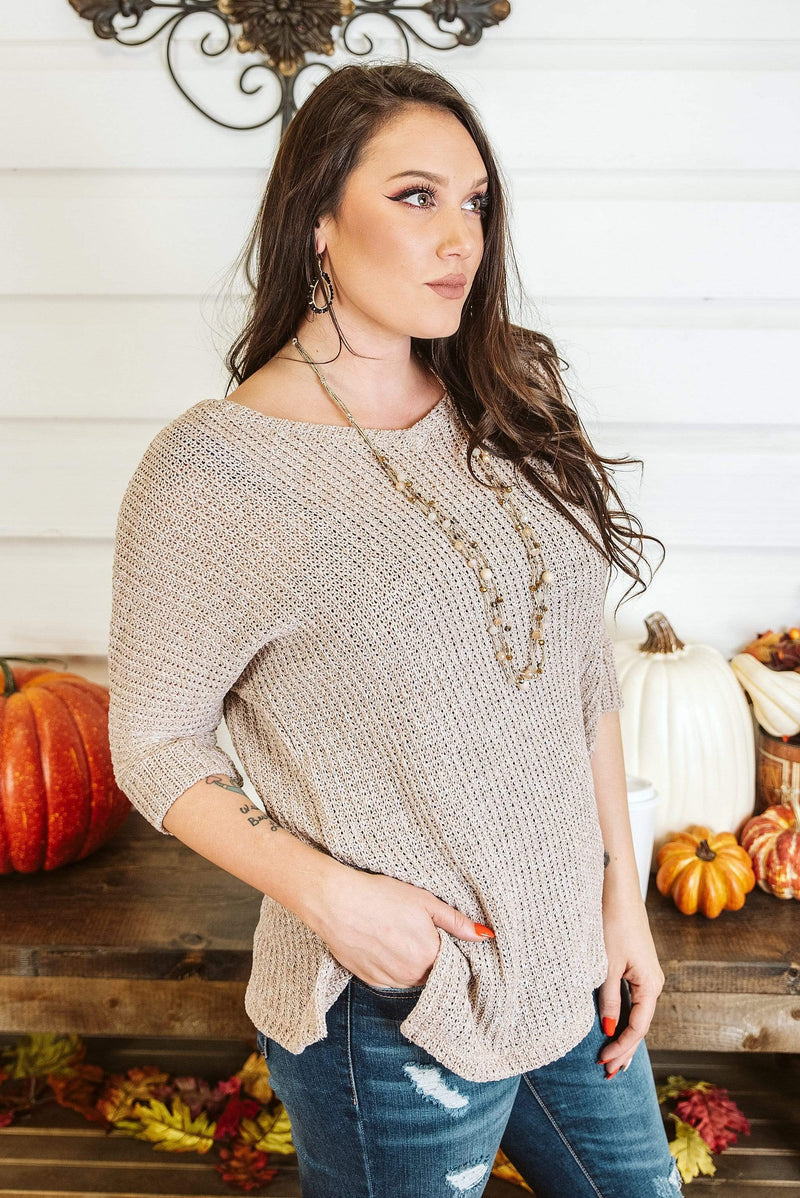 Glitzy Girlz Boutique Cool Wishes Top, Taupe