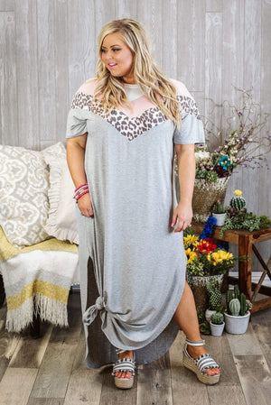 Glitzy Girlz Boutique Copy of Curvy Fabulous Life Maxi Dress, Grey