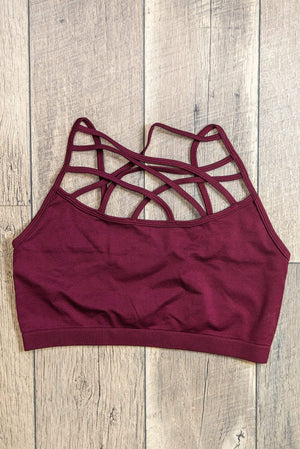 Glitzy Girlz Boutique Criss Cross Bralette Non Padded, Burgundy