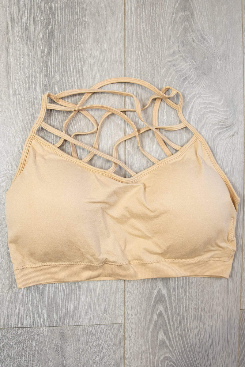 Glitzy Girlz Boutique Criss Cross Bralette, Nude