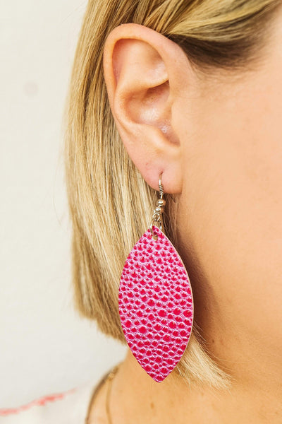 Glitzy Girlz Boutique Crocodile Skin Drop Earrings, Pink
