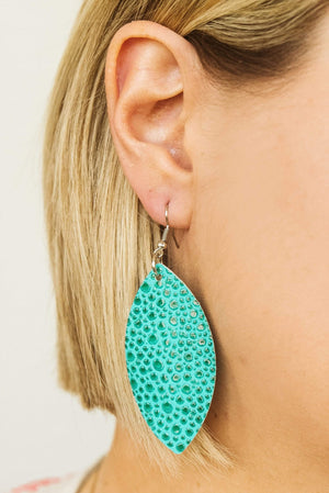 Glitzy Girlz Boutique Crocodile Skin Drop Earrings, Turquoise