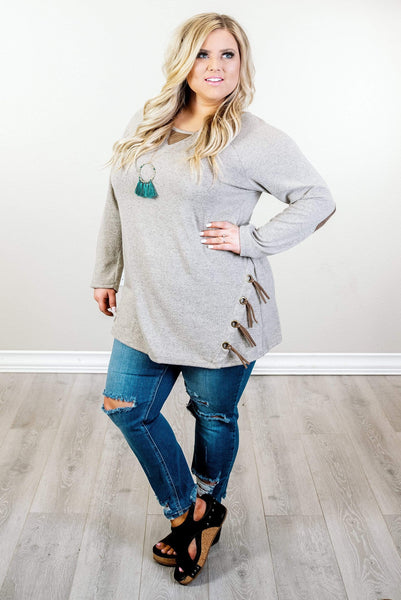 Glitzy Girlz Boutique Curvy A little Sass Tunic, Taupe