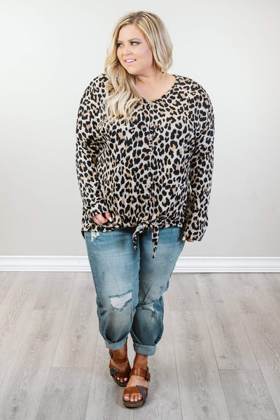 Glitzy Girlz Boutique Curvy All About The Spots Top, Taupe/Black