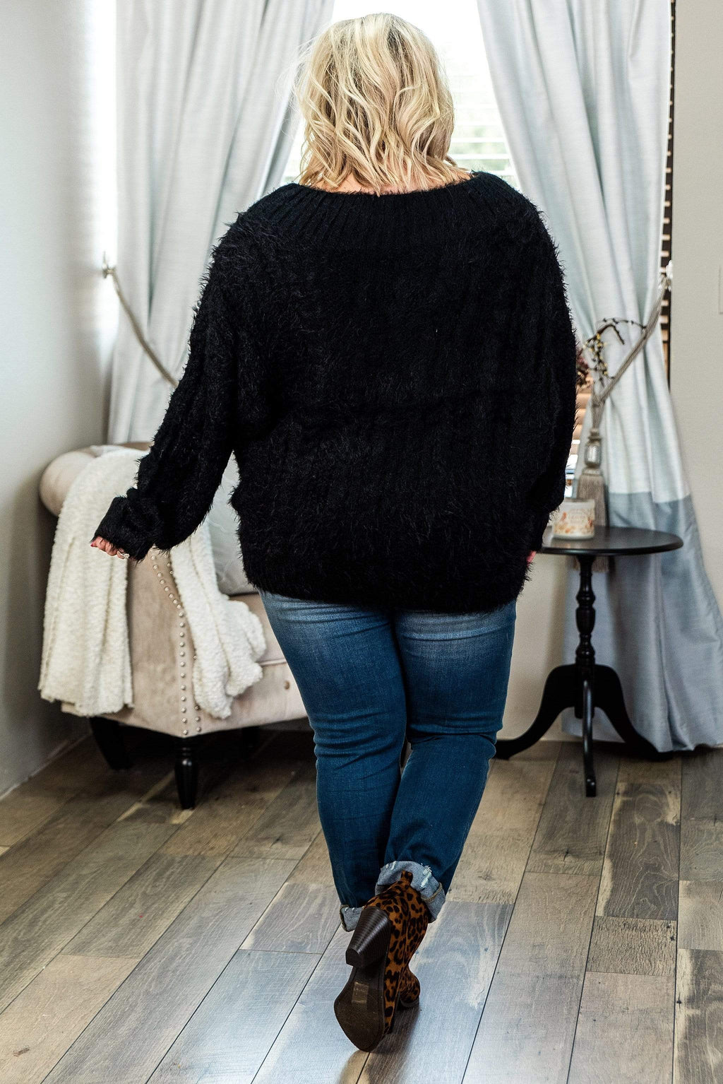 Glitzy Girlz Boutique Curvy Back In A Minute, Black, Plus Size Top