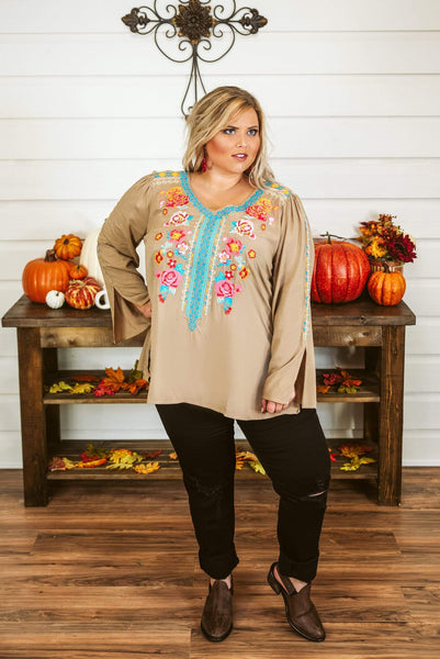 Glitzy Girlz Boutique Curvy By Chance Top, Mocha