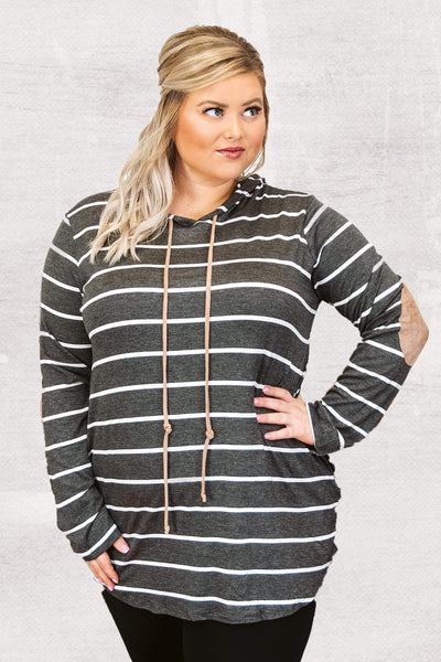 Curvy Casual Comfort Hooded Top, Charcoal