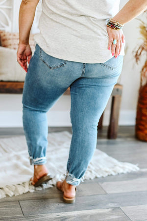 Glitzy Girlz Boutique Curvy Catalina Denim Jeans | High Rise Distress Plus Size Frayed Hem Crop