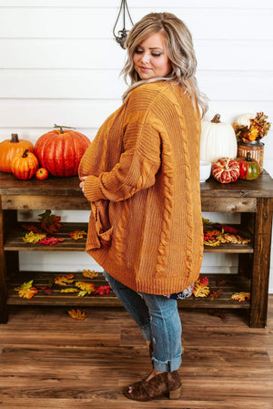 Glitzy Girlz Boutique Curvy Catch Me On The Fall Side Cardigan, Camel