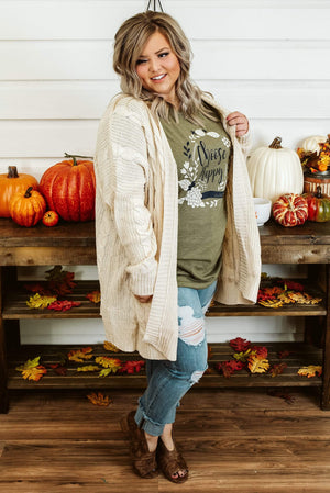 Glitzy Girlz Boutique Curvy Catch Me On The Fall Side Cardigan, Cream