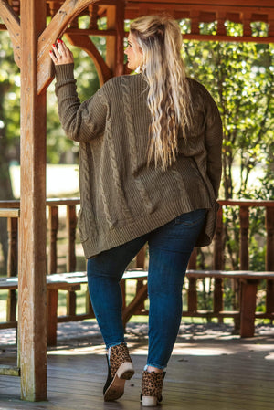 Glitzy Girlz Boutique Curvy Catch Me On The Fall Side Cardigan, Olive