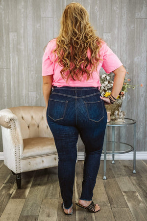 Glitzy Girlz Boutique Curvy Celia, Dark Wash, Skinny Denim Jeans