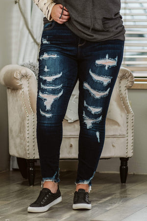 Glitzy Girlz Boutique Curvy Chaney, Dark Wash, Plus Size Denim Jeans