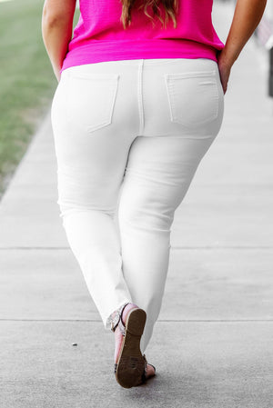Glitzy Girlz Boutique Curvy Charli White 5 Button Denim Jean