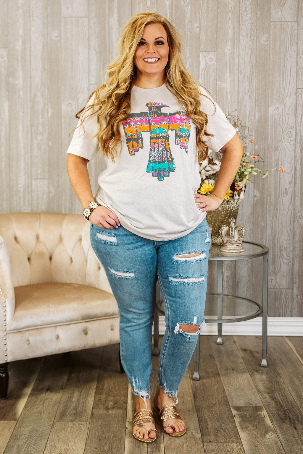 Glitzy Girlz Boutique Curvy Chloe, Medium Wash, Plus Size Cropped Denim Jeans