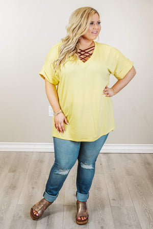 Glitzy Girlz Boutique Curvy Comfort Calls Top, Yellow