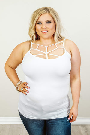Glitzy Girlz Boutique Curvy Crossing The Line Cami, Ivory