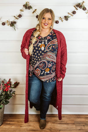 Glitzy Girlz Boutique Curvy Cuddle Cutie Cardigan, Burgundy
